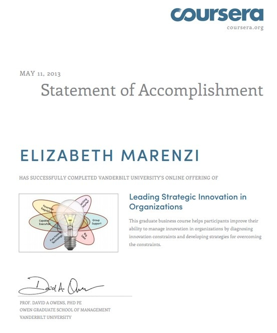 Leading Strategic Innovation in Organisations: 8-week course offered by Vanderbilt University through Coursera. Improved my ability to manage creativity, innovation and change by diagnosing likely innovation failures before they occur. Using an innovation constraints framework that draws on modern social science research and insights from business practice, I learnt how to best manage people (be they co-workers, bosses, customers, clients, or any other stakeholders) when innovation is the…