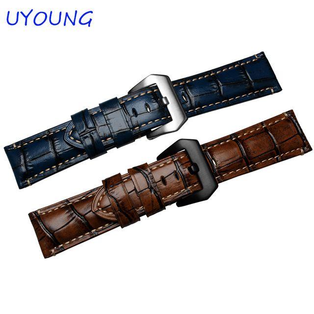 UYOUNG Horlogeband Kwaliteit Lederen Herenhorloge band 24mm Blauw/Bruin Horloge Accessoires Voor Panerai