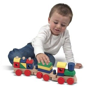 Melissa & Doug Stacking Train It is very durable and safe. The manufacturer recommend 1 month to 2 years. However it is really 24 months – 5 years. Children younger than this can become frustrated with the toy as they do not understand the stacking process.  http://awsomegadgetsandtoysforgirlsandboys.com/melissa-and-doug-toys/ Melissa & Doug Stacking Train