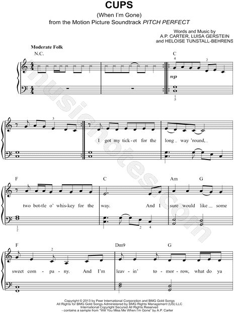 """When I'm gone"" by Anna Kendricks sheet music"