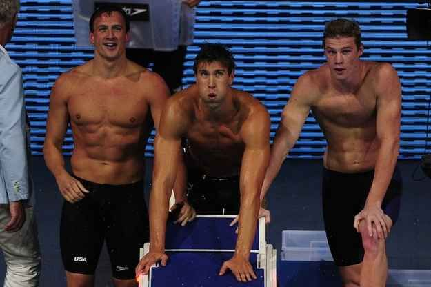 When Team USA looked all serious except for Ryan Lochte who looked like he just remembered a very funny Spongebob quote. | 36 Very Important Shirtless Things That Happened At The Swimming World Championships