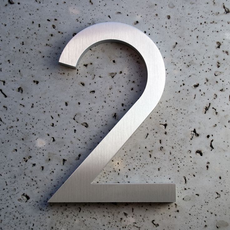 Modern houses numbers aluminum modern font number two 2