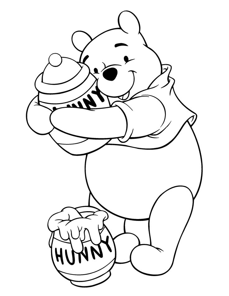 winnie the pooh hunny coloring pages for kids printable winnie the pooh coloring pages for kids - Pooh Bear Coloring Pages Birthday