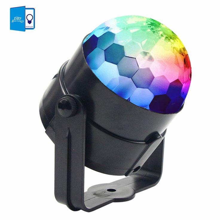 [DBF]Mini 3W RGB LED Crystal Magic Ball Effect Lighting Voice Automatic Control …
