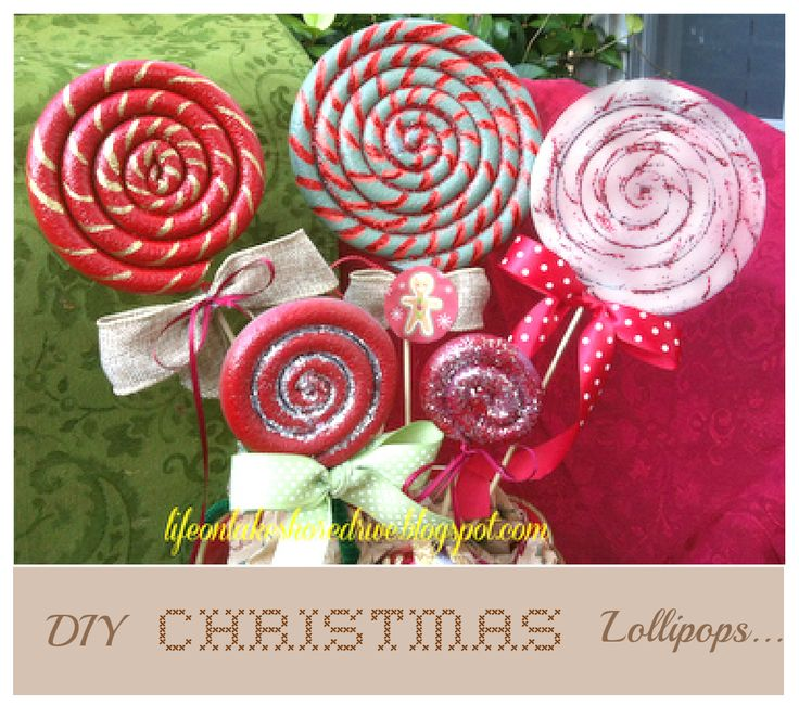 diy christmas centerpieces made of candy | The white lollipop has glittery glue on it and it's very pretty! I ...