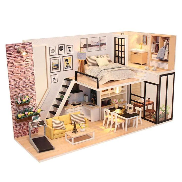 DIY Wooden Loft Apartments Dollhouse Miniature Kit…