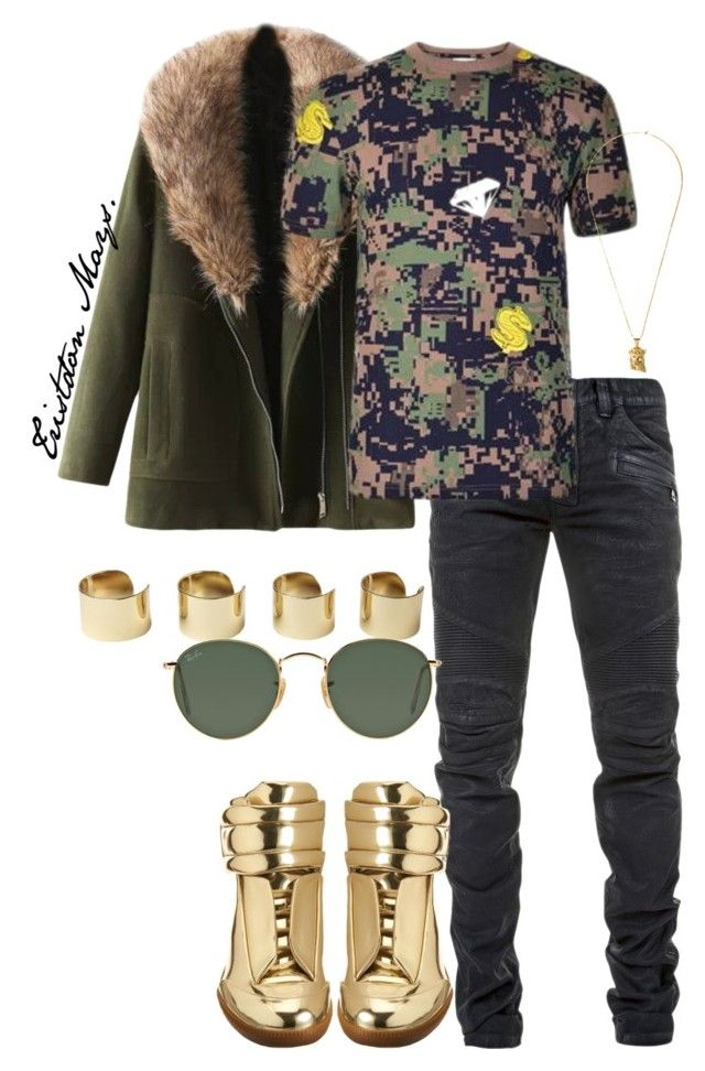 """Trillionaire Boys Club."" by monroestyles ❤ liked on Polyvore featuring Balmain, Billionaire Boys Club, Maison Margiela, Ray-Ban and MensFashion"