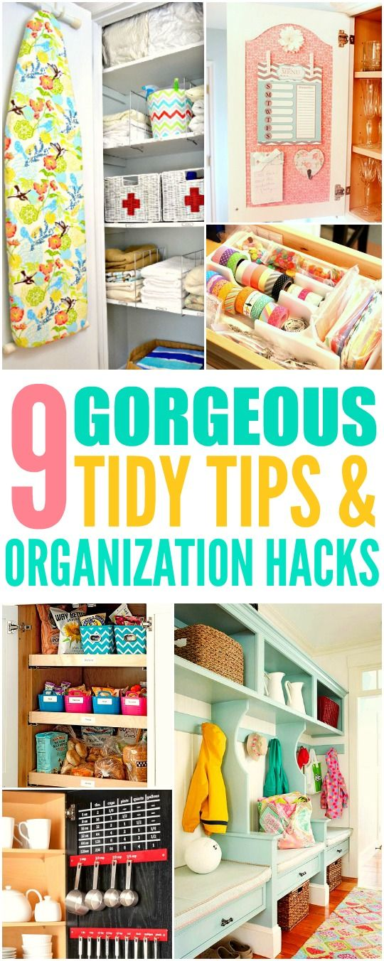 These 9 home organization projects are THE BEST! I'm so happy I found these AMAZING tips! Now I have some new ways to keep my place tidy! Definitely pinning for later!