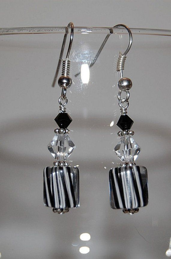Black and White Earrings by HannahsHands on Etsy, $14.00