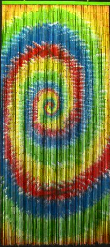"""Tie Dye Beaded Curtain 125 Strands (+hanging hardware) by ABeadedCurtain. $55.19. Bamboo beaded curtain arrives fully assembled and with HANGING HARDWARE INCLUDED you will have your beaded curtain up quickly.. Each bead is completely painted so the image is viewable from both sides at any angle.. Truly a piece of hand painted artwork. Fits most doorways and windows. Also looks wonderful when hung on walls as beaded wall art.. Each bamboo curtain is 36"""" x 79"""" with 12..."""