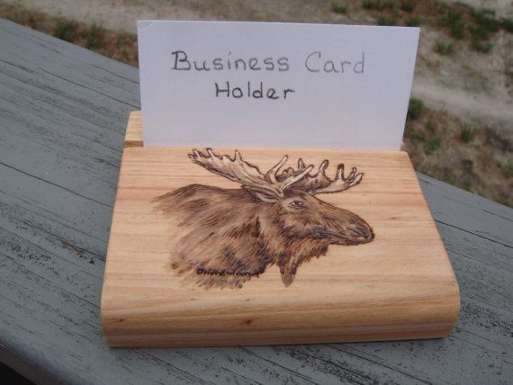 23 best moose business card holder images by moosteria on handmade wood burned cypress business card holder with moose colourmoves