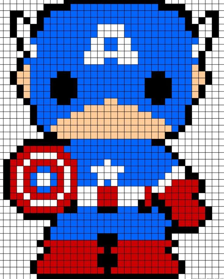 Cute perler bead captain America