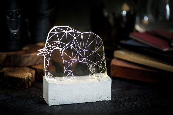 Christmas in july sale - Concrete Elephant lamp, SAFARI decorative lamp, table lamp, animal night light on Etsy, $72.22