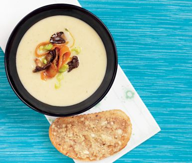 Slät och krämig soppa med palsternacka, potatis, shiitake och crème fraiche. Servera soppan med rostade mackor med nötmix av smör, ost och blandade nötter. Toppa soppan med svamp.