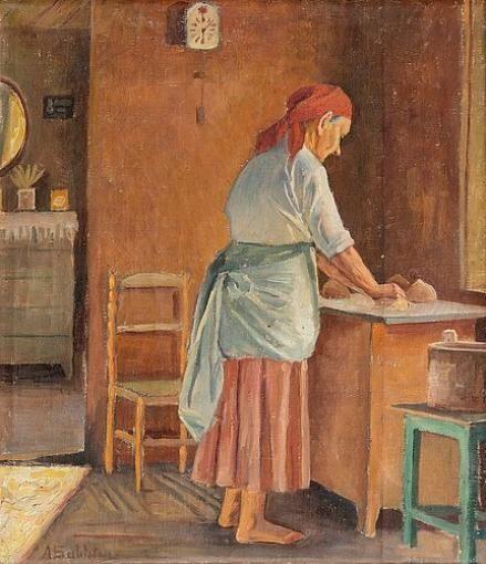 Anna Sahlstén (1859-1931) Woman Baking - Finland