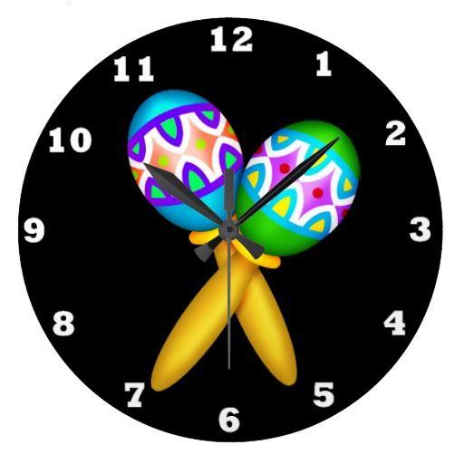 Cartoon Maraccas Southwestern wall clock