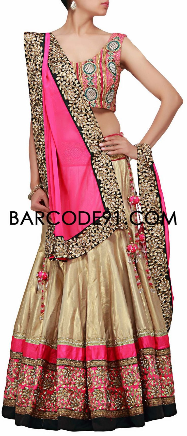 Buy it now http://www.barcode91.com/a-beiger-and-pink-lehenga-choli-with-gotta-patti-work-by-kalki.html A beiger and pink lehenga choli with gotta patti work by Kalki