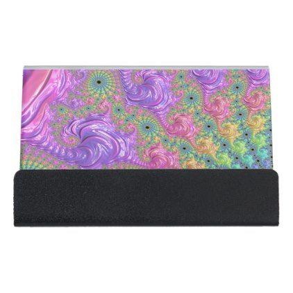 #Rainbow Fractal Desk Business Card Holder - customized designs custom gift ideas