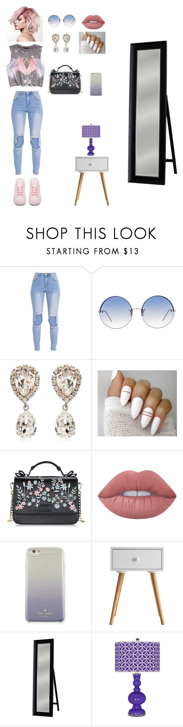 """look unicórnio"" by nath-nessie on Polyvore featuring moda, Forever 21, Linda Farrow, Dolce&Gabbana, Lime Crime, Kate Spade, Head West e adidas"