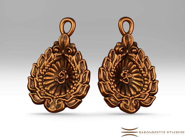 Diwali  / Loi Krathong AUM leaf-boat Earrings  in Raw Brass