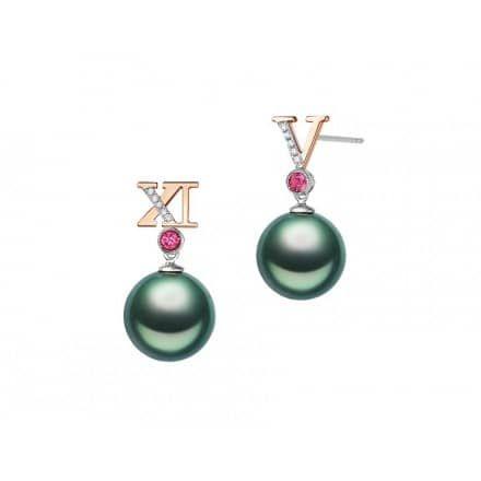 Luna-Pearls Tahitiperlen Collier mit Diamanten 0,07 ct - Luna Pearls