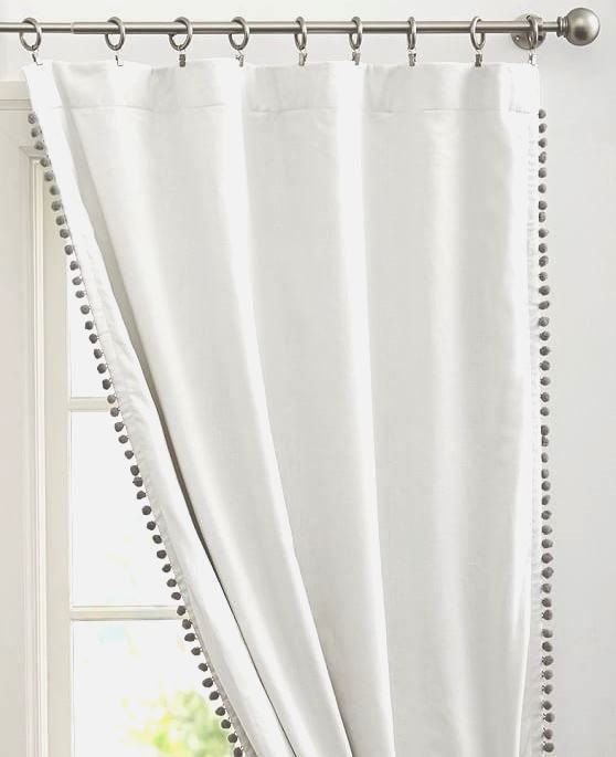 Beautiful Pom Pom Trimmed curtains/double sided with Pom Pom Tiebacks, made with high quality pom pom trim.   Price is per panel, many colors