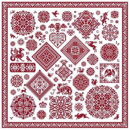 Fabulous red sampler in red - rode kruissteek merklap met alfabet en Vierlanden kruissteek rosetten, Vierlanden ruiten en motieven