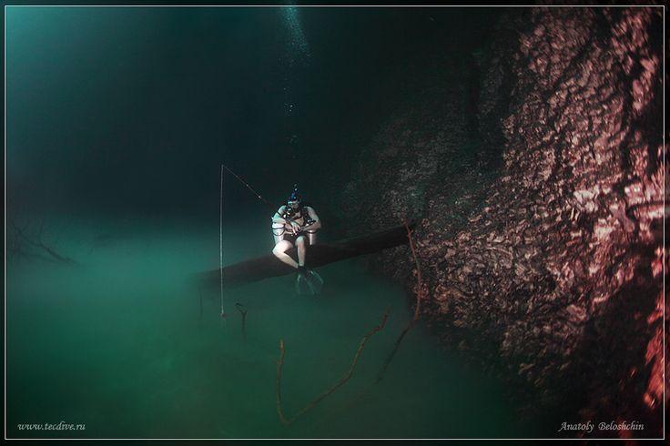 Fishing in underwater river