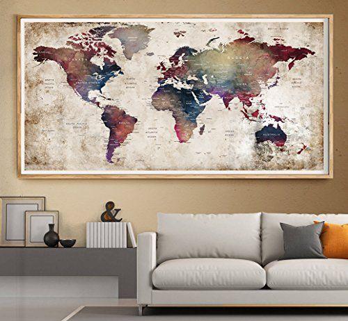 39 best amazon world map images on pinterest mapas del mundo wall art prints watercolor world map painting poster la https gumiabroncs Choice Image