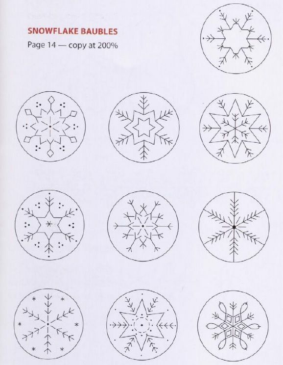 Simple embroidery patterns for snowflakes