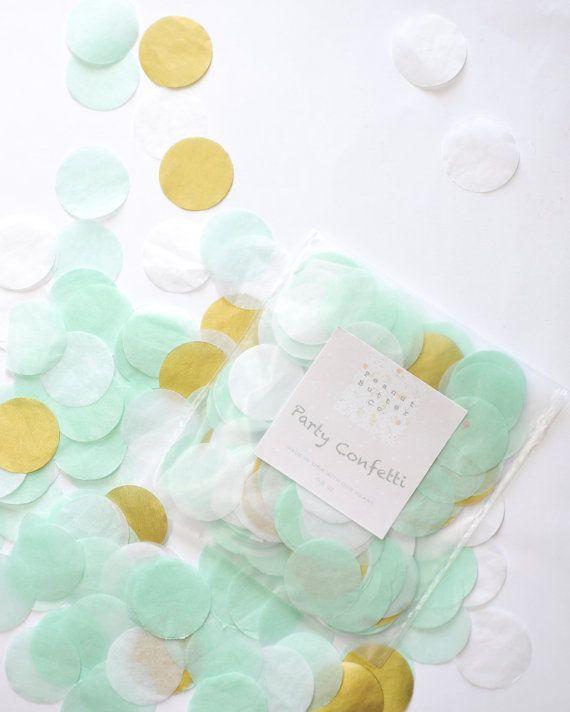 Mint White Gold Mixed Confetti - Wedding! Birthday! Baby Shower! Party Confetti ! Tissue Paper Confetti ! Round Cut Confetti !