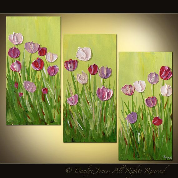 Original abstract painting Tulips acrylic on by danlyespaintings, $189.99