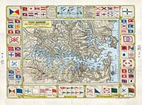 Port Jackson & Middle Harbour also Parramatta & Lane Cove rivers, 1900.       This brightly coloured decorative map by H.E.C. Robinson illustrates the Sydney Harbour region just prior to Federation.