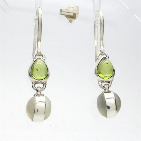 Earring Peridot & Moonstone | 925 Sterling Silver | Authentic Stone | Crystal Heart Melbourne Australia since 1986