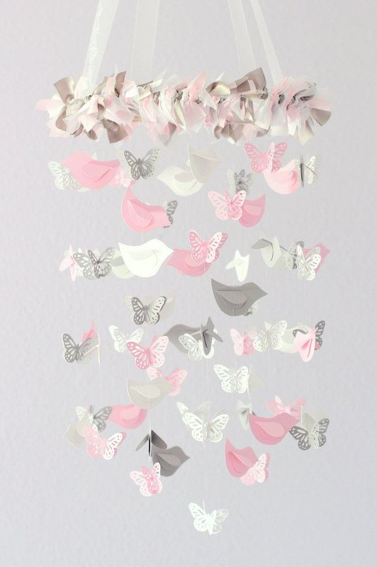 Pink Nursery Mobile Birds & Butterflies Light by LovebugLullabies