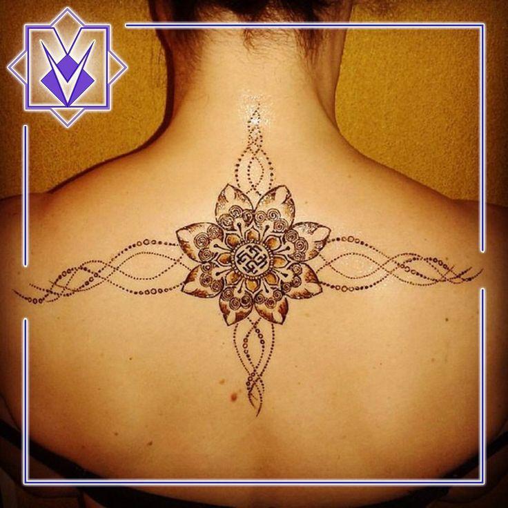 Славянский символ Сварожич в цветочной мандале и 16-мерная ДНК - роспись хной (мехенди, био-тату)