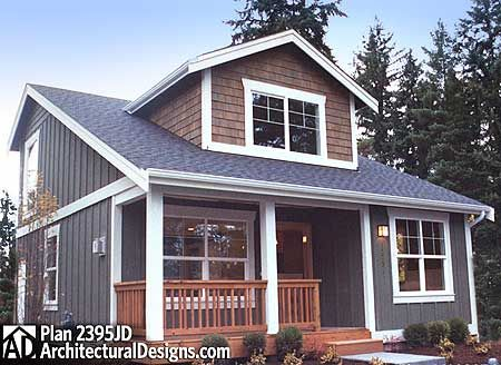 Plan No: W2395JD Style: Cottage, Northwest Total Living Area: 1,000 sq. ft. Main Flr.: 650 sq. ft. 2nd Flr: 350 sq. ft. Front Porch: 76 sq. ft.