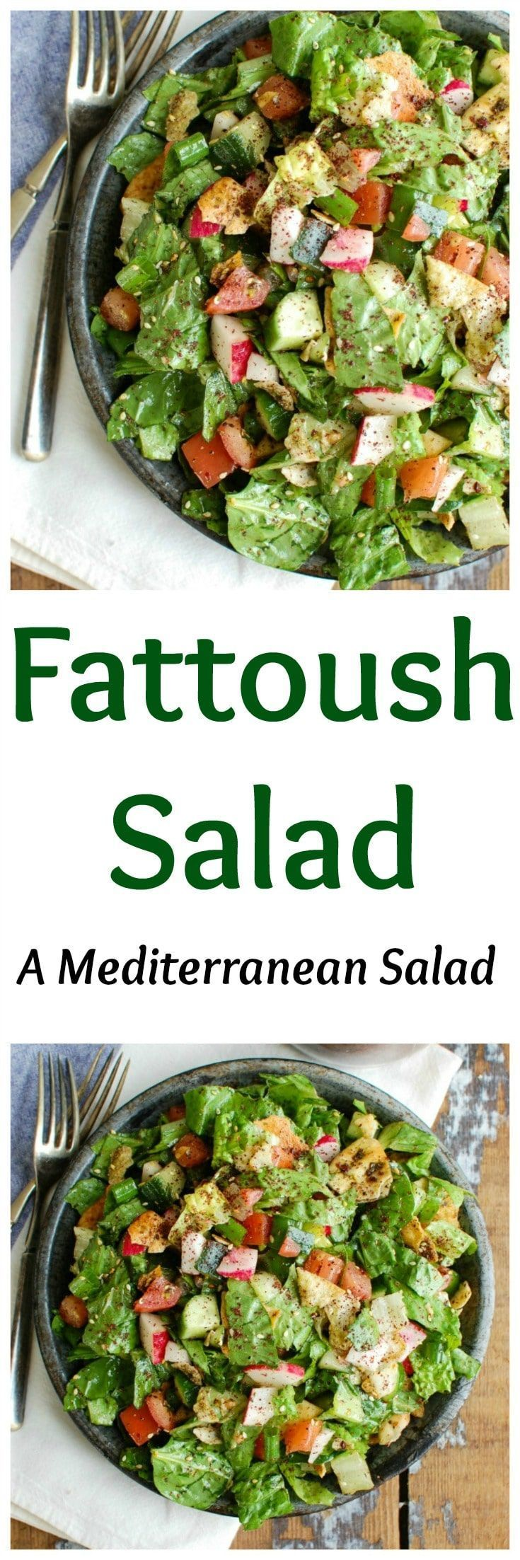 A healthy Middle Eastern Salad with a light, lemony vinaigrette dressing. This salad mixes crisp romaine, fresh vegetables, pita chips and a light lemony sumac dressing and is great with fresh farmers market vegetables. // A Cedar Spoon