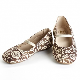 Pepe Brown Floral Ballet Flats