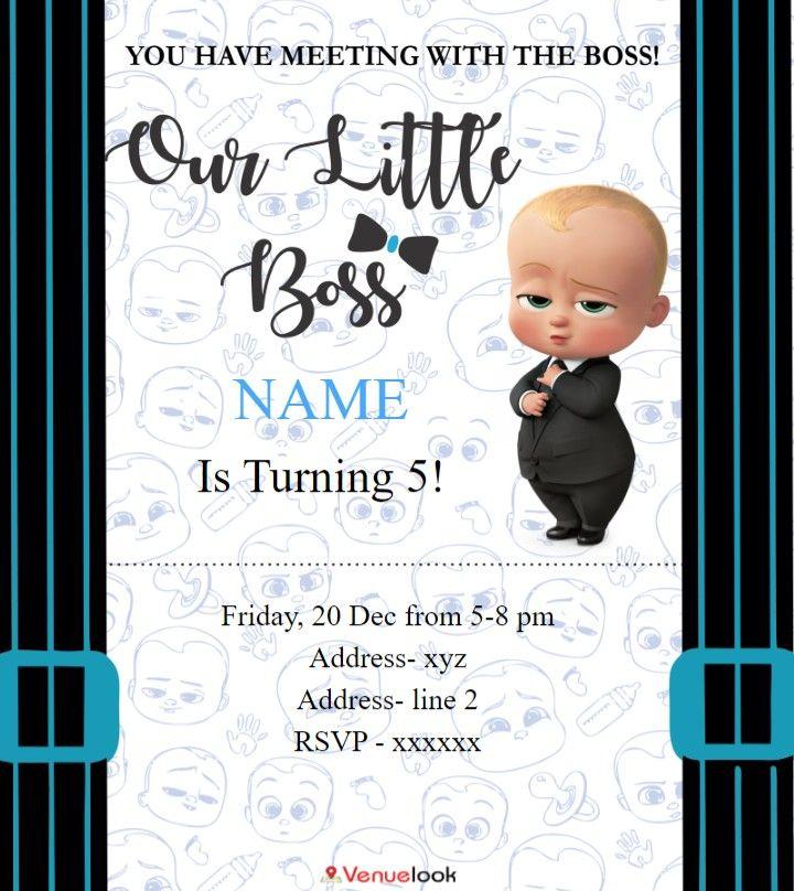 Boss Baby E Invite Baby Birthday Invitations Boys First Birthday Party Ideas Baby Birthday Invitation Card