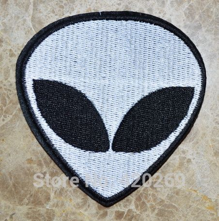 big 3.4 inch Punk Patch Fluorescent Aliens E.T.Head Embroidered Applique Iron on…