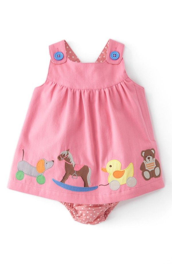Mini Boden Appliqué Button Strap Dress (Baby Girls)