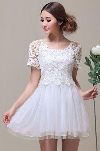 ROMWE | Lace Mesh Two-piece White Dress, The Latest Street Fashion #ROMWEROCOCO