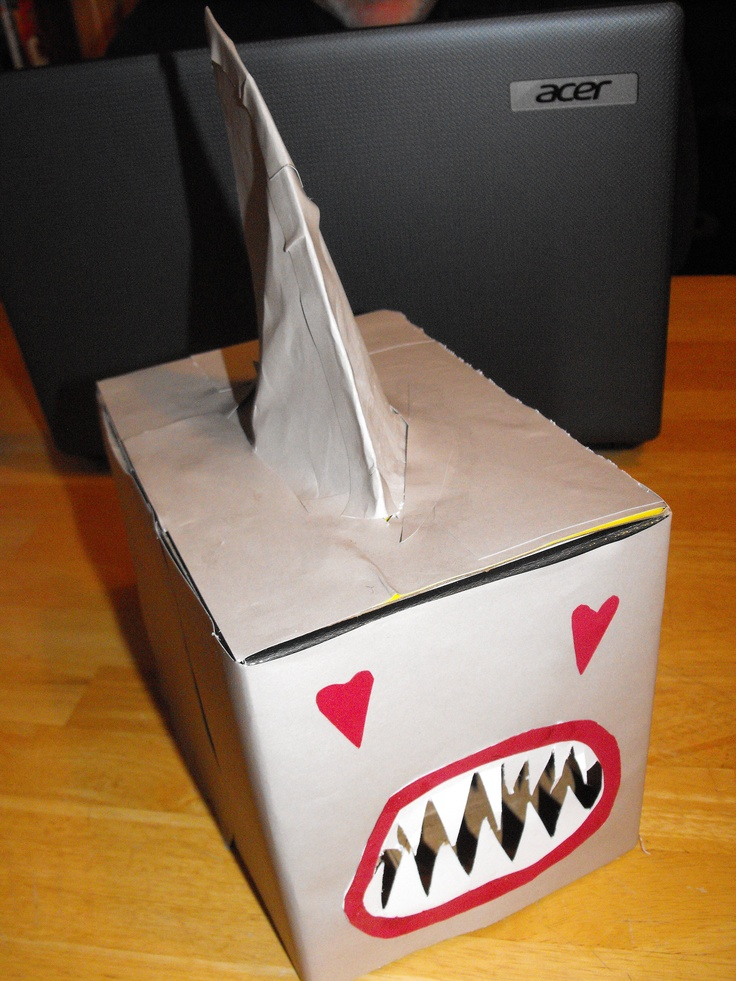 Shark box to collect Valentines in class -- and, yes, it's for an 8yo GIRL. She made it with her dad last night. The idea is from http://www.thelittlenook.net via another Pinner.