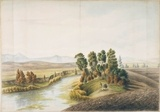 River bank, Bathurst (?), ca. 1815, attributed to John William Lewin.  Find more information about this image: http://acms.sl.nsw.gov.au/item/itemDetailPaged.aspx?itemID=404930  From the collection of the State Library of New South Wales: www.sl.nsw.gov.au