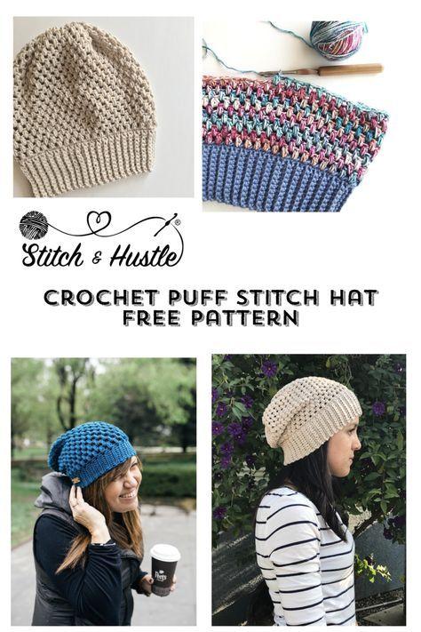 Helix Puff Stitch Hat Free Pattern | crochet ideas | Pinterest | Tejidos
