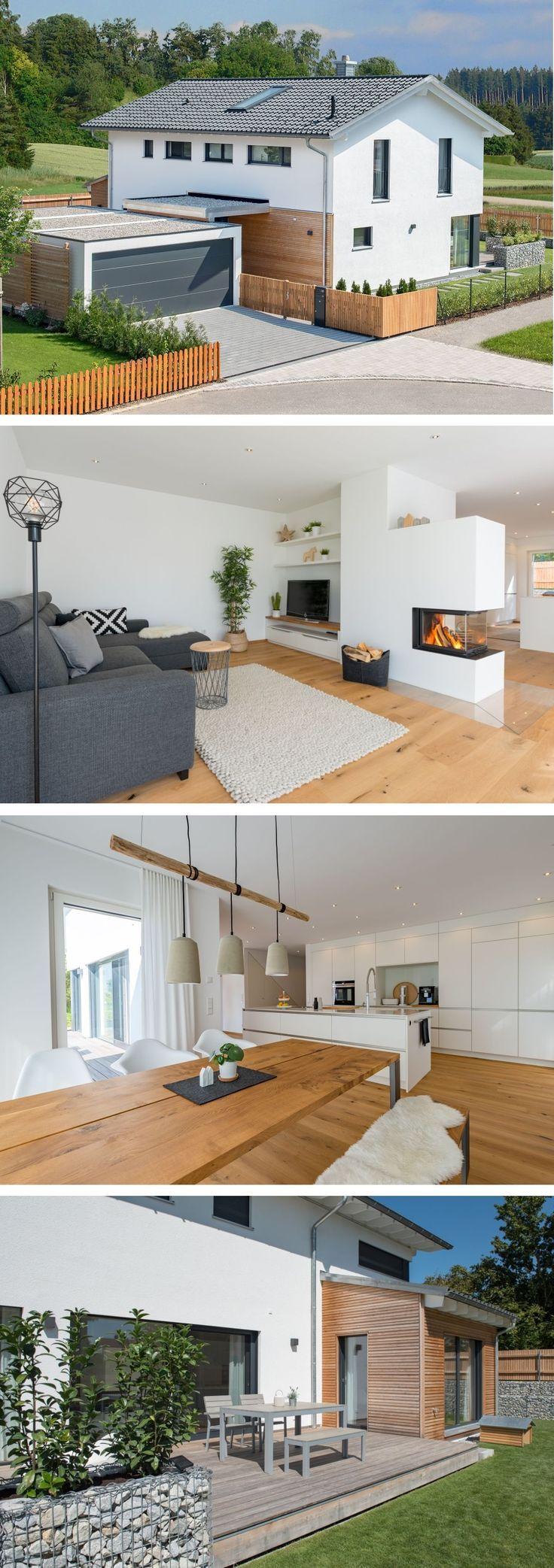 Einfamilienhaus Architektur im Landhausstil modern mit Garage, Holz Fassade, Sat