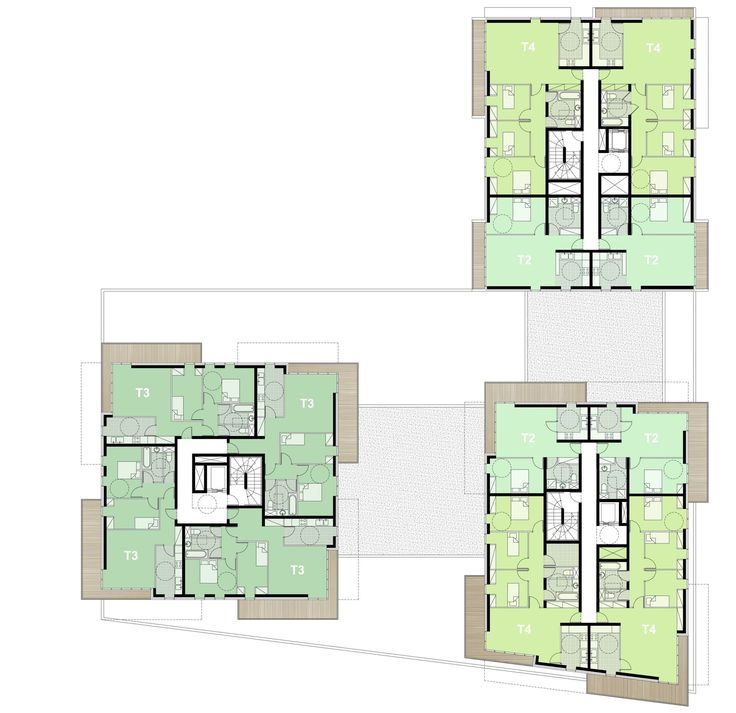 The architectural choice The project brings together 86 housing units and a home for autistic workers. It unfolds on three plots implanted on a common ba...