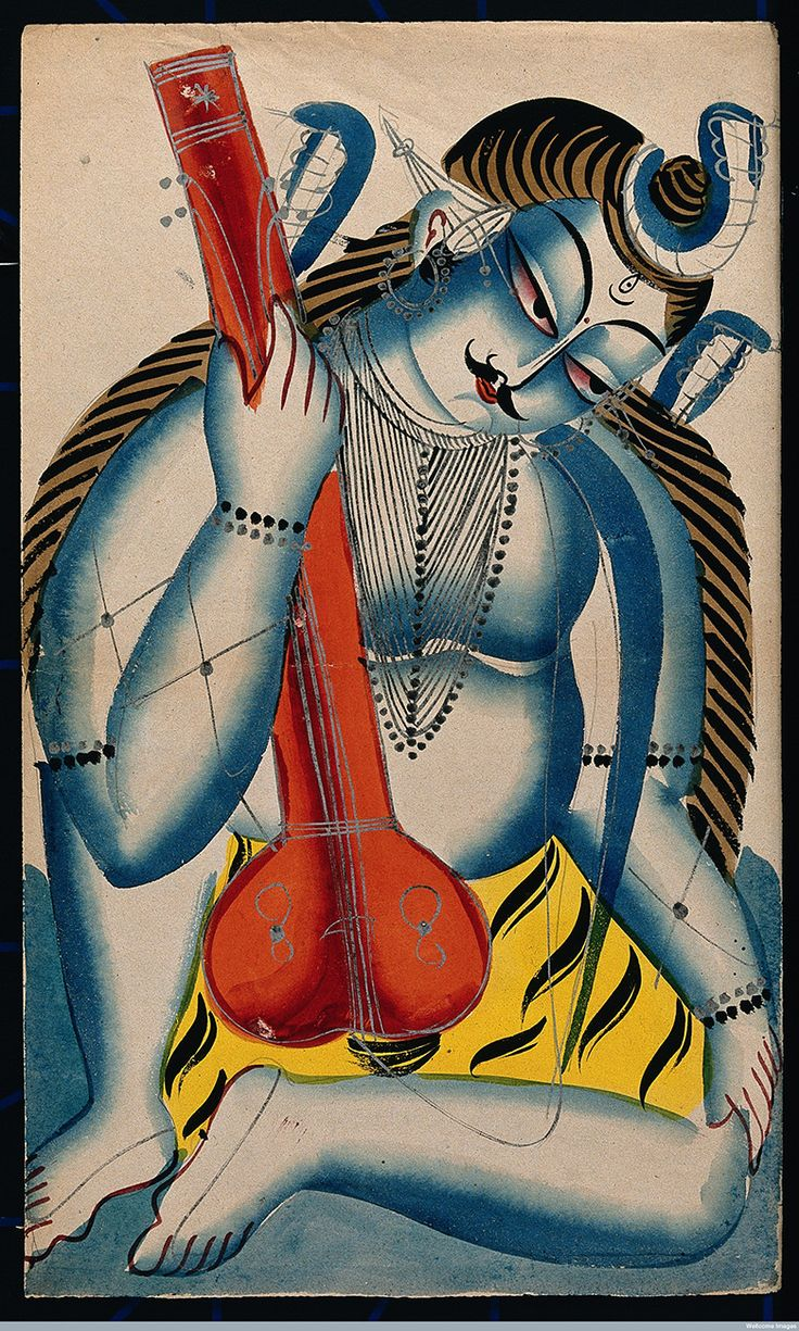 egmfoulas:  An intoxicated Shiva holding a sitar or tambura in the form of a lingam - the sacred object releating to the worship of Shiva which signifies Shiva's power to create and his power to control creativity by transmuting sexual energy into spiritual energy.Watercolour. 19th CenturyWellcome Library, London