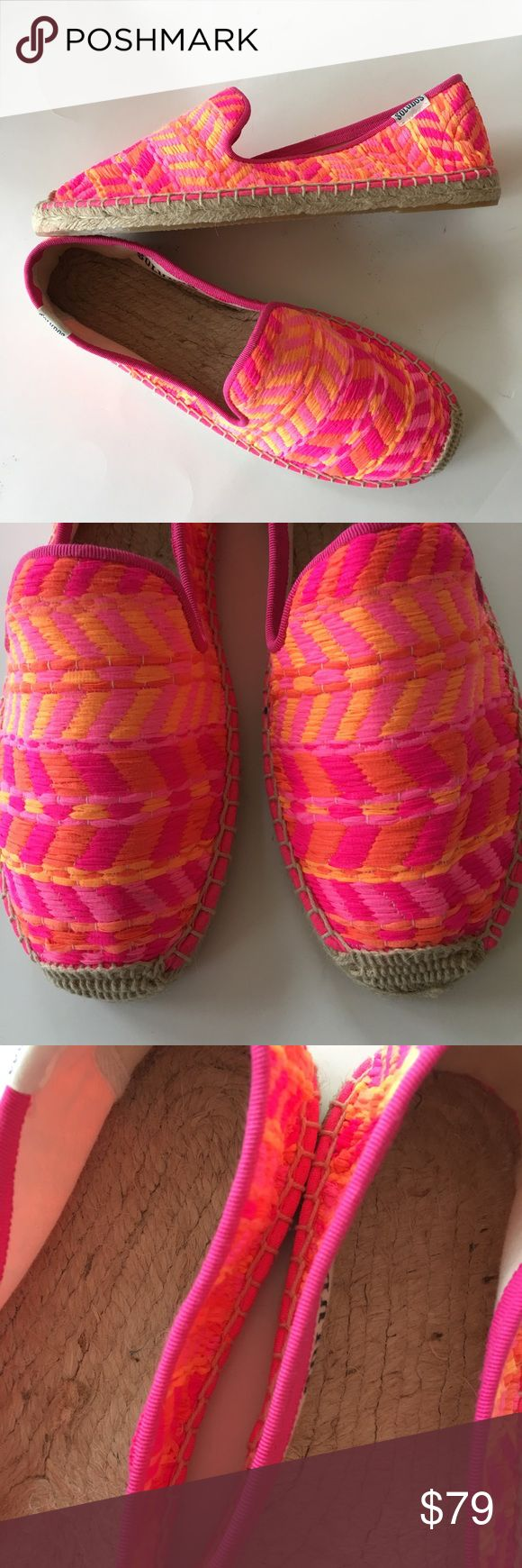 "NEW SOLUDOS smoking slipper woven pink espadrille Super comfy espadrille summer shoes with rope insoles- feels like every day is a walk on the sandy beach! Hot pink multi chevron. By SOLUDOS, a brand sold st Urban Outfitters. Retail $175. New in box w tags. (1800) Available in US WOMENS sizes 8, 9, 10. Pinterest says they're ""Ashton Kutcher's Pick""! Urban Outfitters Shoes Flats & Loafers"